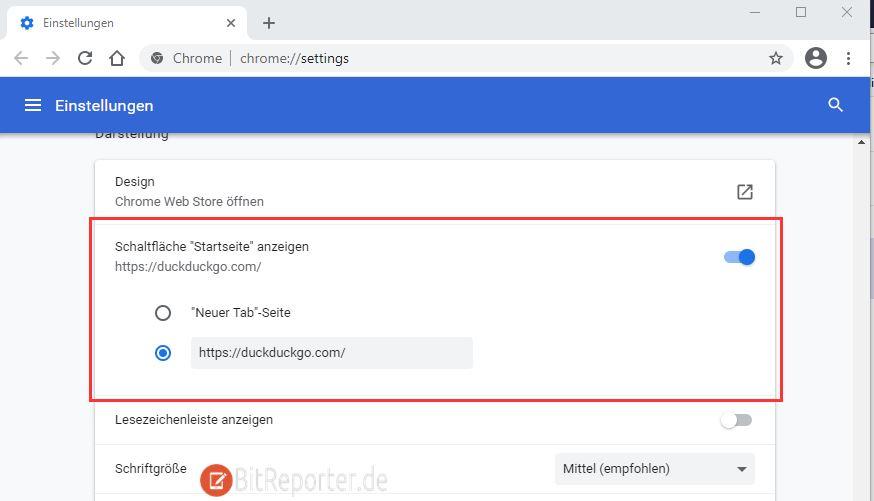 Startseite und Startseite Button in Google Chrome einrichten