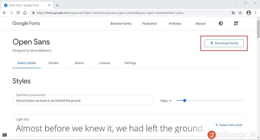 Google Fonts herunterladen