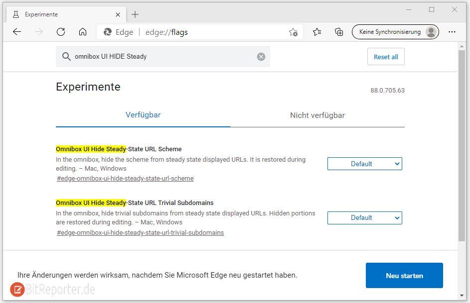 In Microsoft Edge immer komplette URL/Internetadresse anzeigen