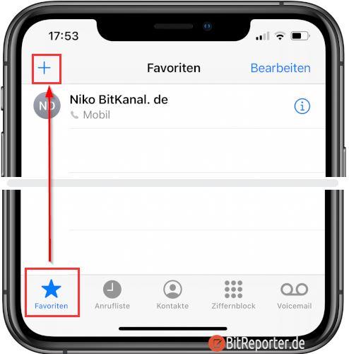 iPhone Kontakt zu Favoriten hinzufügen