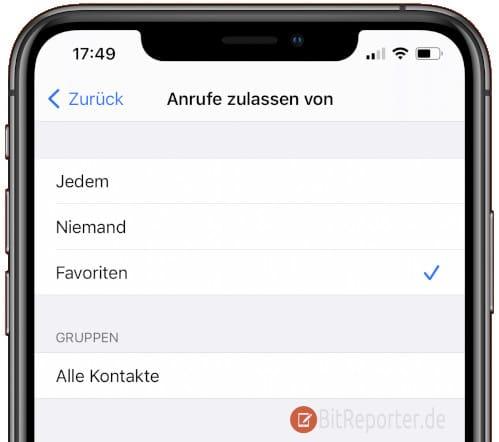 """Anrufe von Favoriten auf dem iPhone zulassen, auch wenn """"Nicht stören"""" aktiv ist"""