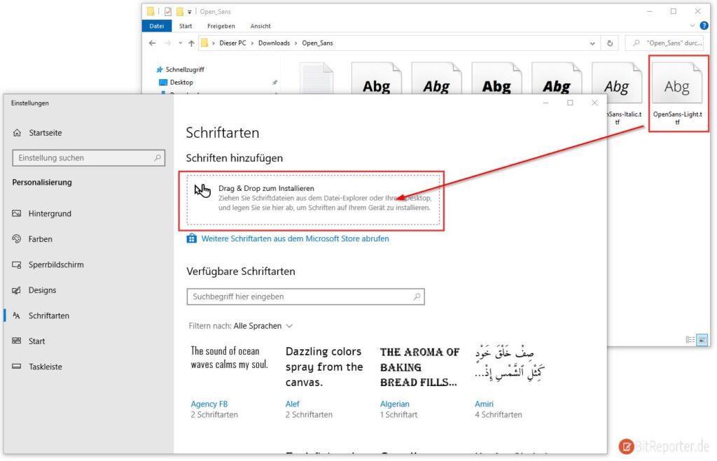 Google Fonts in Windows 10 installieren
