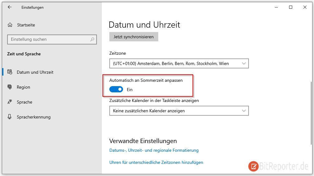 Windows 10 automatisch Sommer- und Winterzeit umstellen