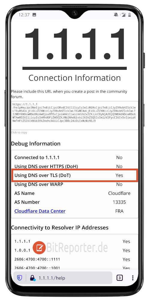 verschlüsseltes DNS (DoT) unter Android testen