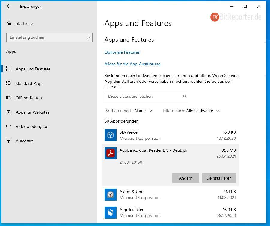 Programme unter Windows 10 über die Einstellungen entfernen