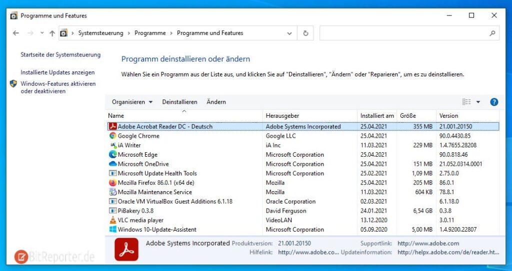 Programme unter Windows 10 über die Systemsteuerung entfernen