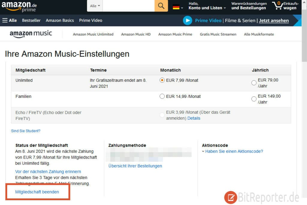 Amazon Music Abo kündigen