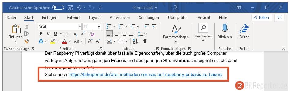 Link in Word automatisch erstellen
