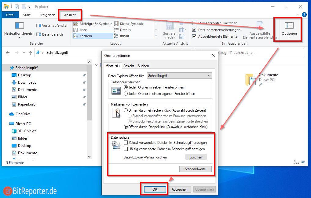 Verhindern, dass Windows automatisch Dateien und Ordner zum Schnellzugriff hinzufügt.