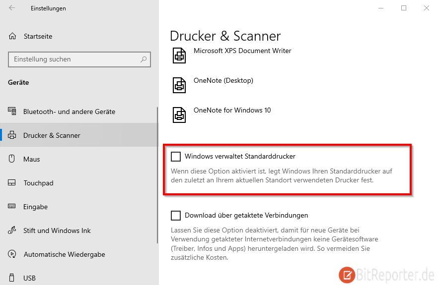 Verhindern dass Windows 10 den Standarddrucker ändert
