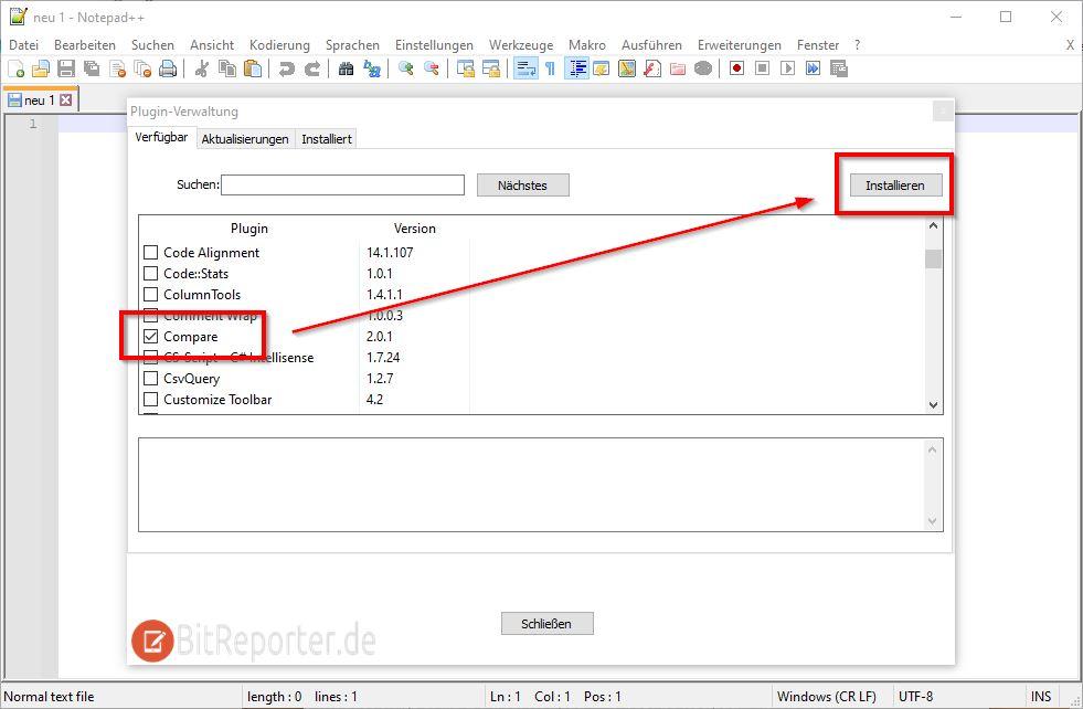 Notepad++ Compare Plugin installieren