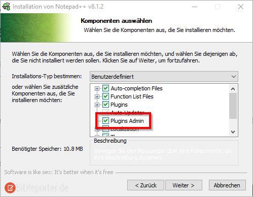 Notepad++ Installationsprogramm Plugins Admin installieren