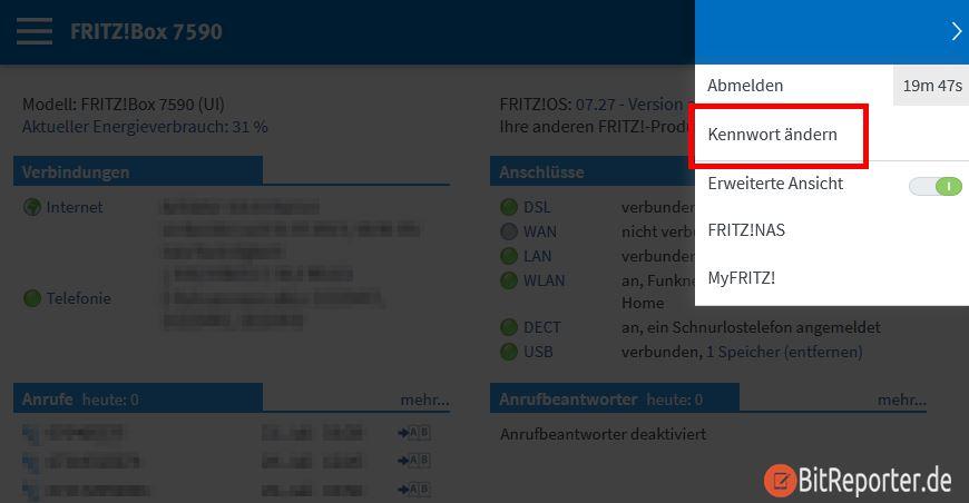 FritzBox Kennwort in der Benutzeroberfläche ändern