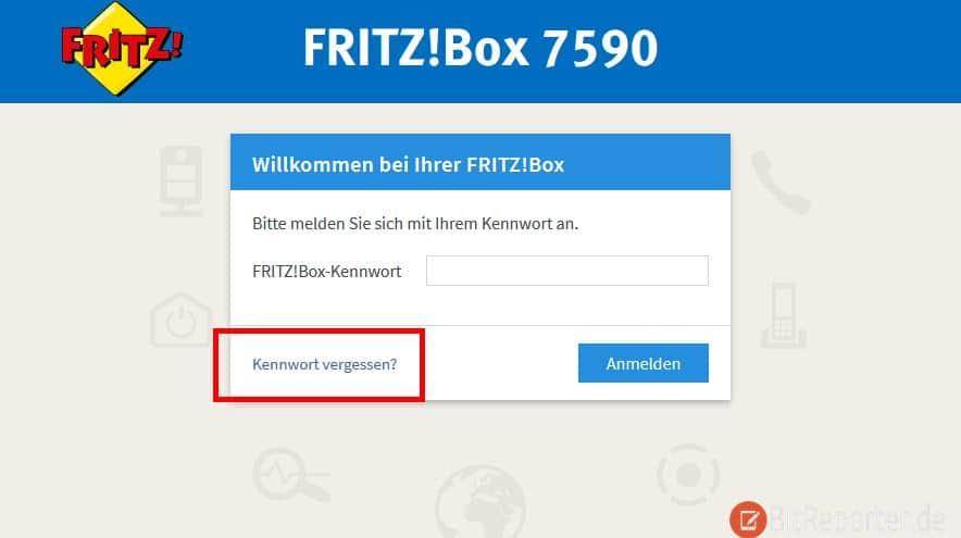 Fritzbox Kennwort vergessen Link auf Loginseite
