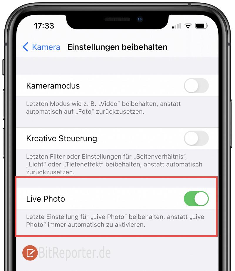 Live-Photo-Funktion am iPhone dauerhaft aktivieren oder deaktivieren