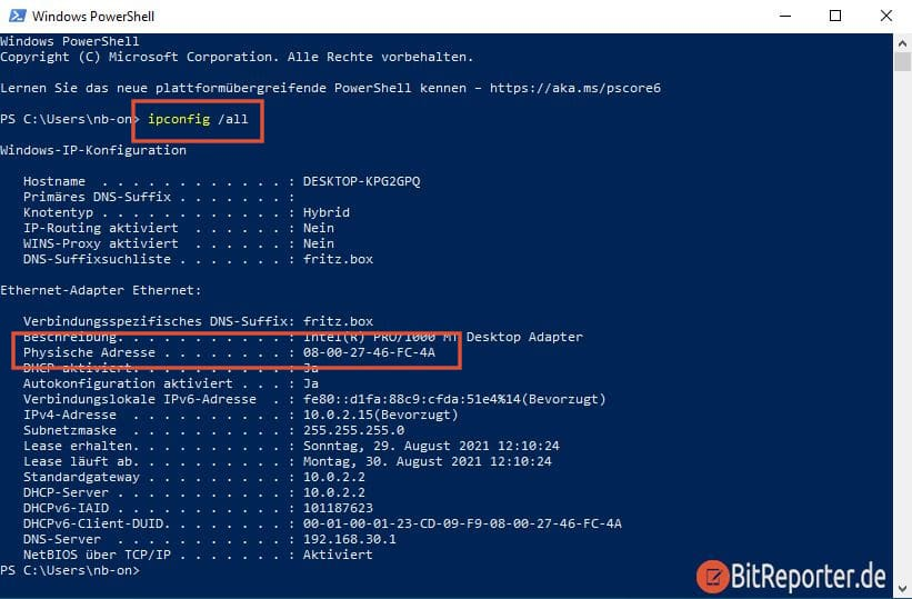 Windows 10 MAC-Adresse mit cmd Eingabeaufforderung PowerShell herausfinden