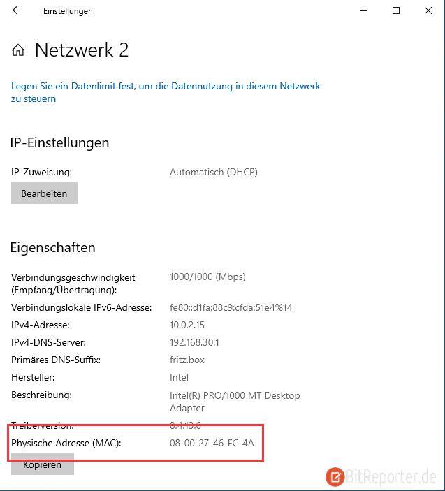 Windows 10 MAC-Adresse ohne cmd Eingabeaufforderung PowerShell herausfinden
