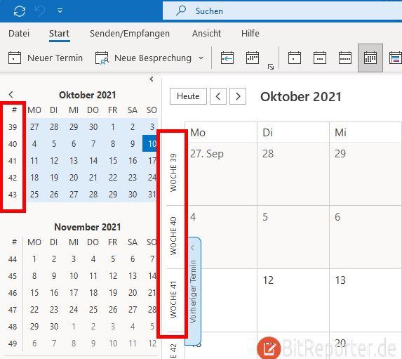 Kalenderwoche wird in Outlook angezeigt