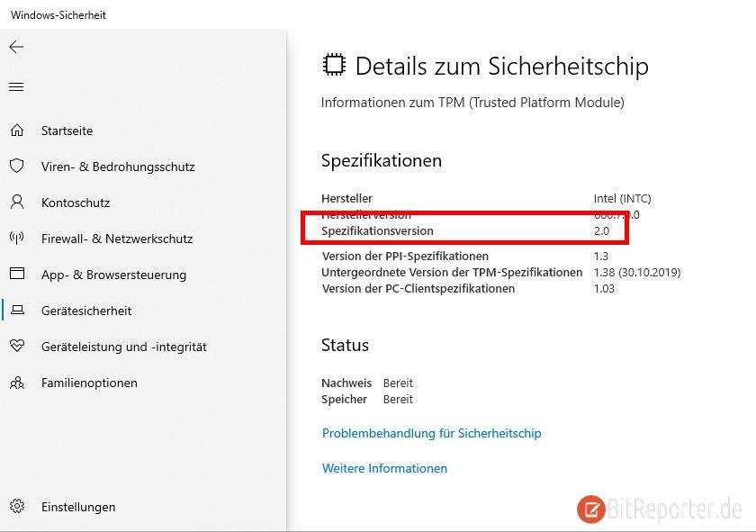 Prüfen ob ein TPM 2.0 Modul vorhanden ist mit der Windows 10 Sicherheit