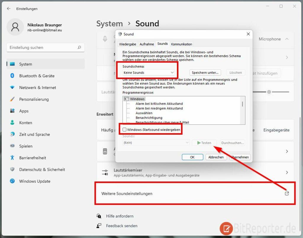 Windows 11 Systemsounds und Startsound deaktivieren